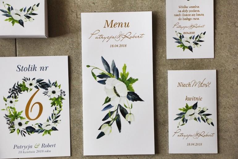 Menu ślubne ze złoceniem, białymi anemonami, granatem i zielenią. Złote Menu weselne - Cykade nr 13