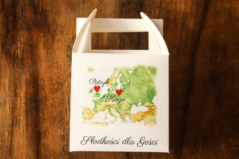 Podziękowania dla gości weselnych. Kwadratowe pudełko na Ciasto z mapą Europy