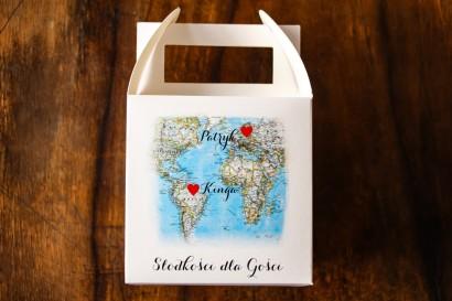 Podziękowania dla gości weselnych. Kwadratowe pudełko na Ciasto z mapą Świata