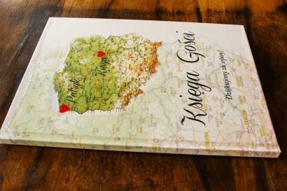 Ślubna, weselne Księga Gości z mapą Polski dla par pochodzących z różnych miast