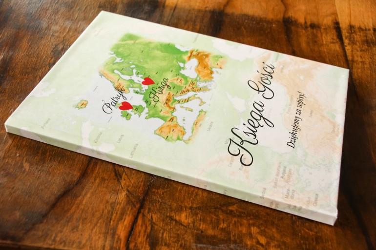 Ślubna, weselne Księga Gości z mapą Europy dla par pochodzących z różnych krajów