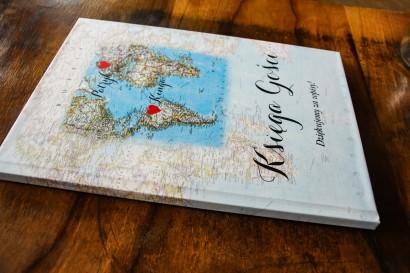 Ślubna, weselne Księga Gości z mapą Świata dla par pochodzących z różnych krajów