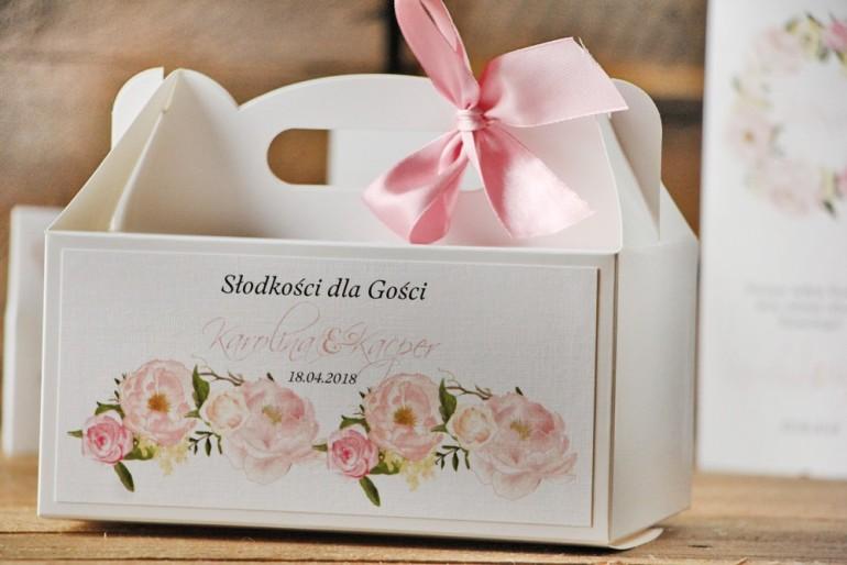 Prostokątne pudełko na ciasto, tort weselny, ślub - Akwarele nr 8 - Pudrowe piwonie
