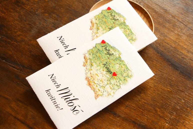 Podziękowania ślubne, nasionka na gości weselnych z mapą Polski dla par pochodzących z różnych miast