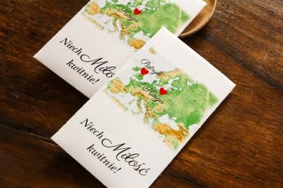 Podziękowania ślubne, nasionka na gości weselnych z mapą Europy dla par pochodzących z różnych krajów