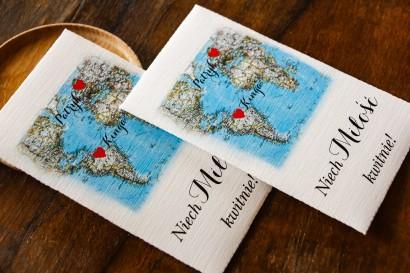 Podziękowania ślubne, nasionka na gości weselnych z mapą Świata dla par pochodzących z różnych krajów