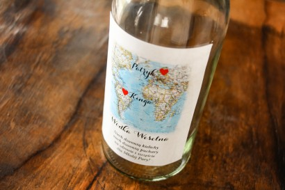 Etykiety samoprzylepne na butelki weselne z mapą Świata dla par pochodzących z różnych krajów