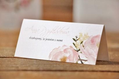 Winietki na stół weselny, ślub - Akwarele nr 8 - Pudrowe piwonie