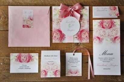 Zaproszenie ślubne z dodatkami - Akwarele nr 9 - Pudrowe piwonie