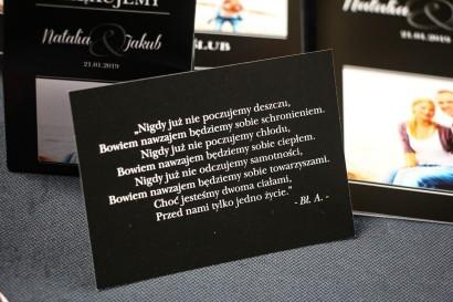 Czarny bilecik do zaproszeń ślubnych z kolekcji Ze Zdjęciem
