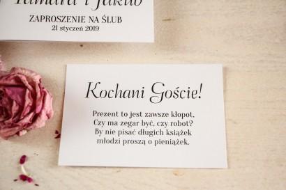 Biały bilecik do zaproszeń ślubnych z kolekcji Ze Zdjęciem