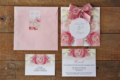 Zaproszenie ślubne z bilecikami - Akwarele nr 9 - Różowe piwonie