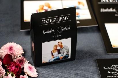 Podziękowania ślubne, pudełeczka na słodkości dla gości z kolekcji Ze Zdjęciem