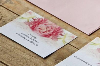 Bilecik do zaproszenia 105 x 74 mm prezenty ślubne wesele - Akwarele nr 9 - Różowe piwonie