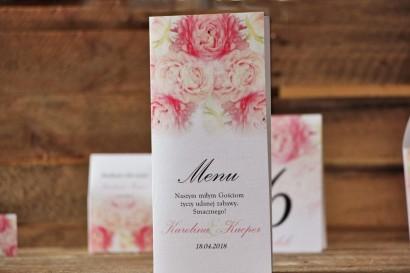 Menu weselne, stół weselny - Akwarele nr 9 - Różowe peonie, piwonie
