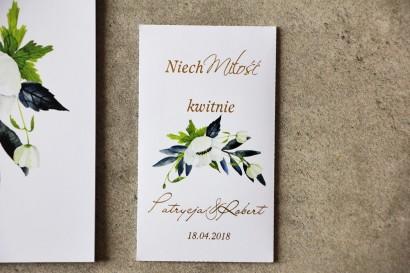 Podziękowania ślubne ze złoceniem, białymi anemonami, granatem i zielenią - Nasiona Cykade nr 3