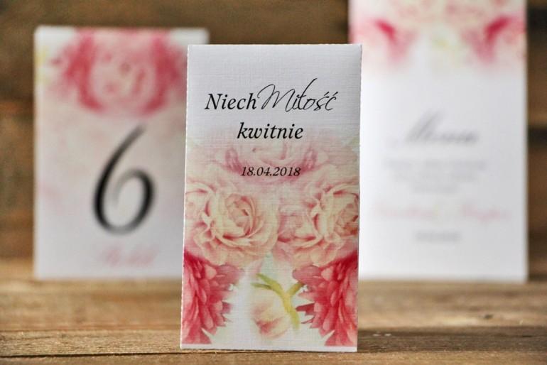 Podziękowania dla Gości weselnych - nasiona Niezapominajki - Akwarele nr 9 - Pastelowe peonie