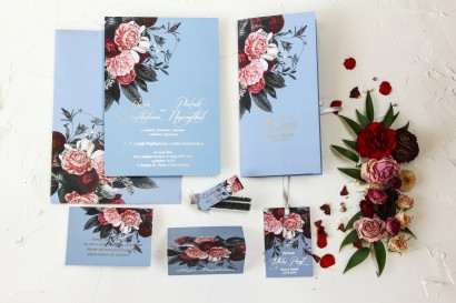 Zestaw próbkowy zaproszeń ślubnych ze srebrzeniem - Pastelowe nr 1