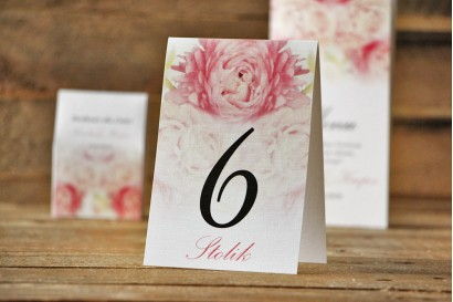 Numery stolików, stół weselny, ślub - Akwarele nr 9 - Różowe piwonie
