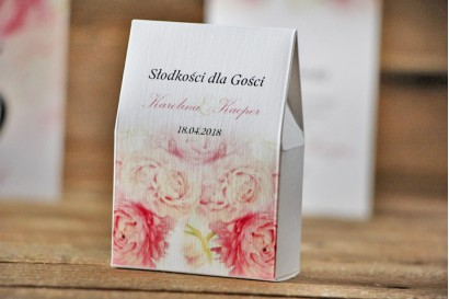 Pudełeczko stojące na cukierki, podziękowania dla Gości weselnych - Akwarele nr 9 - różowe piwonie