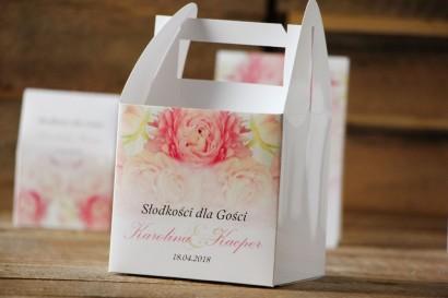 Pudełko na ciasto kwadratowe, tort weselny - Akwarele nr 9 - Różowe peonie, piwonie