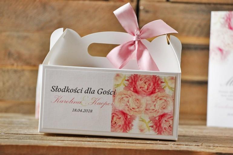Prostokątne pudełko na ciasto, tort weselny, ślub - Akwarele nr 9 - Zdjęcie piwonii