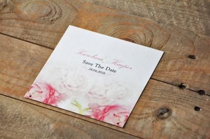 Bilecik Save The Date do zaproszenia - Akwarele nr 9 - Różowe piwonie
