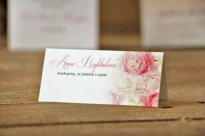 Winietki na stół weselny, ślub - Akwarele nr 9 - Różowe piwonie
