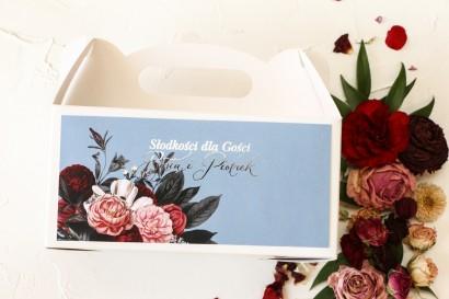Prostokątne Pudełko na Ciasto Weselne w stylu glamour ze srebrnym tekstem – przygaszony niebieski kolor