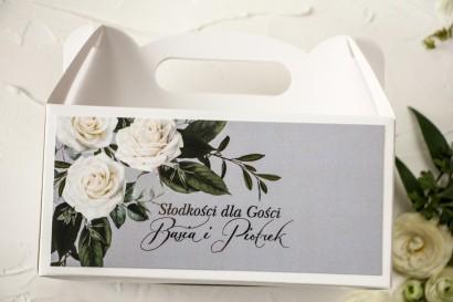 Prostokątne Pudełko na Ciasto Weselne z białymi różami w stylu glamour ze srebrnym tekstem