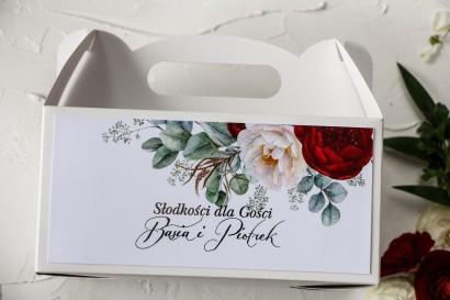 Prostokątne Pudełko na Ciasto Weselne z burgundowymi i różowymi piwoniami w stylu glamour ze srebrnym tekstem