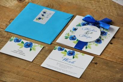 Zaproszenie ślubne z kolorową kopertą i bilecikami - Akwarele nr 10 - Niebieskie kwiaty