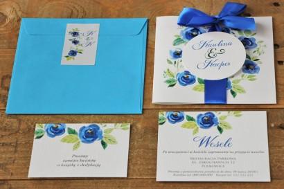 Zaproszenie ślubne z kolorową kopertą i bilecikami - Akwarele nr 10 - Chabrowe kwiaty
