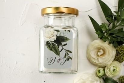Świeczki - podziękowania dla gości weselnych. Etykieta z białymi różami w stylu glamour ze srebrnym tekstem