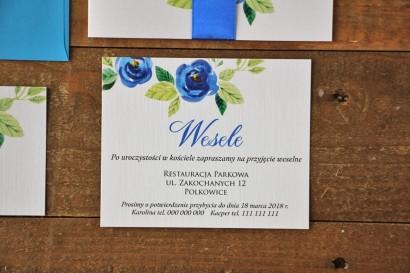 Bilecik do zaproszenia 120 x 98 mm prezenty ślubne wesele - Akwarele nr 10 - Chabrowe kwiaty