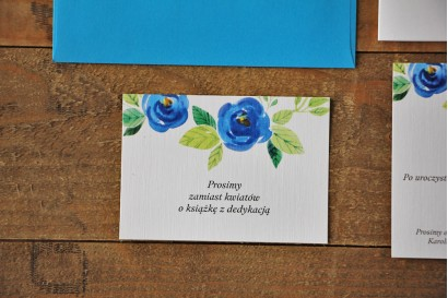 Bilecik do zaproszenia 105 x 74 mm prezenty ślubne wesele - Akwarele nr 10 - chabrowe kwiaty