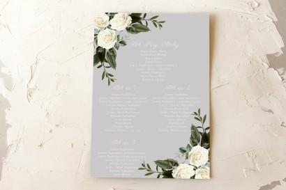 Weselny Plan Stołów z białymi różami w stylu glamour z dominującą barwą delikatnej szarości
