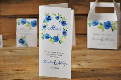 Menu weselne, stół weselny - Akwarele nr 10 - Chabrowe kwiaty