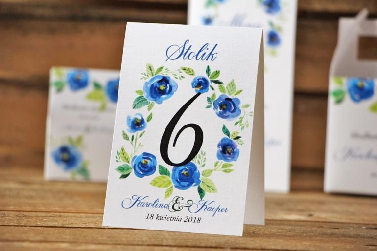 Numery stolików, stół weselny, ślub - Akwarele nr 10 - Chabrowe kwiaty