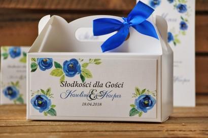 Prostokątne pudełko na ciasto, tort weselny, ślub - Akwarele nr 10 - Chabrowe kwiaty