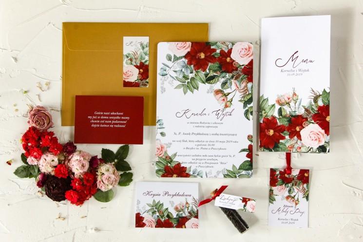 Zaproszenia ślubne z bordowymi daliami i pastelowymi różami