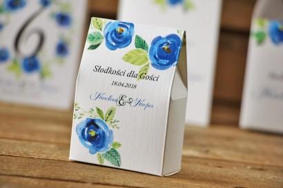 Pudełeczko stojące na cukierki, podziękowania dla Gości weselnych - Akwarele nr 10 - Chabrowe kwiaty