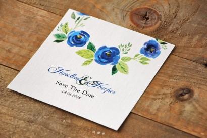Bilecik Save The Date do zaproszenia - Akwarele nr 10 - Chabrowe kwiaty