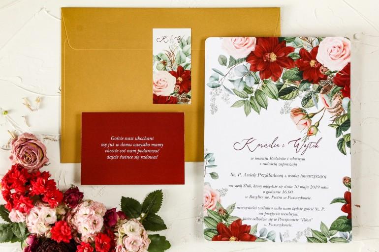 Próbka - Zaproszenia ślubne z bordowymi daliami i pastelowymi różami