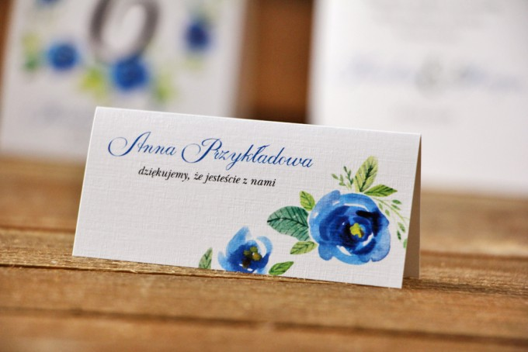 Winietki na stół weselny, ślub - Akwarele nr 10 - Chabrowe kwiaty