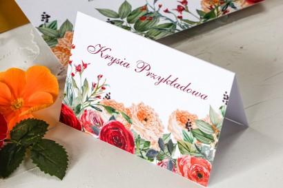 Winietki ślubne z pomarańczowymi i amarantowymi różami - Wenis nr 2