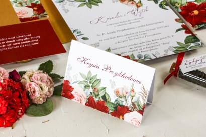 Winietki ślubne z bordowymi daliami i pastelowymi różami - Wenis nr 3
