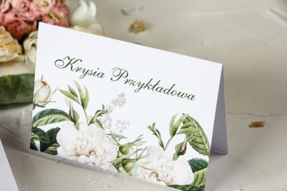 Zielone Winietki ślubne z białymi różami i delikatnymi zielonymi gałązkami - Wenis nr 4