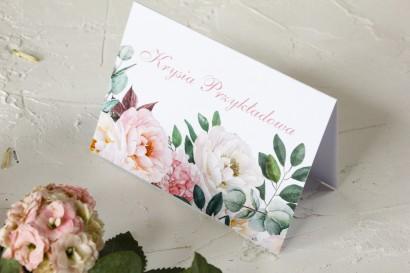 Różowe Winietki ślubne z różowymi piwoniami i daliami - Wenis nr 6
