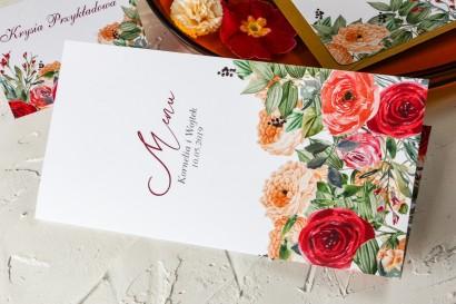 Menu weselne z pomarańczowymi i amarantowymi różami - Wenis nr 2